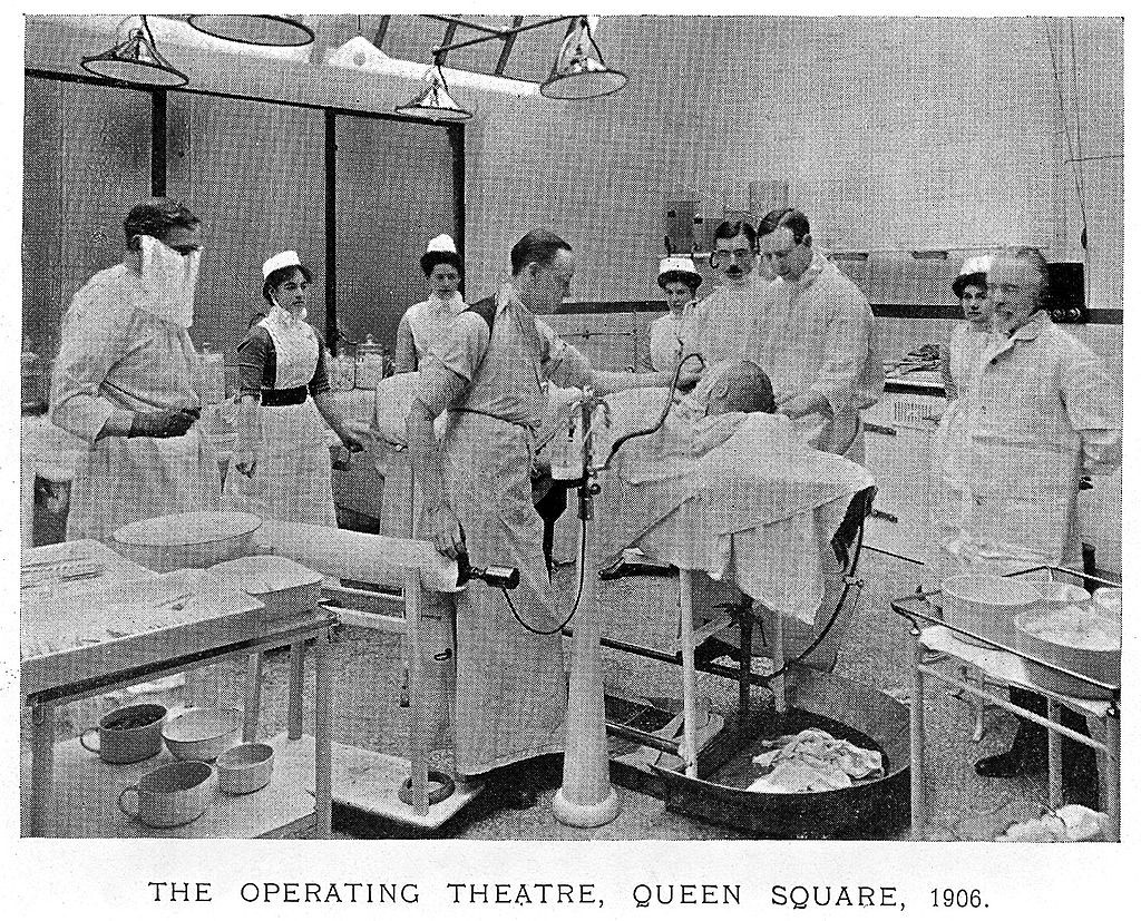 Sir Victor Horsley in the operating theatre, National Hospital, Queen Square, London.