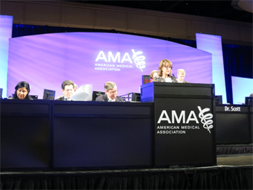 Dr. Stroink leading the way at the AMA as chair of Reference Committee B (Legislation)