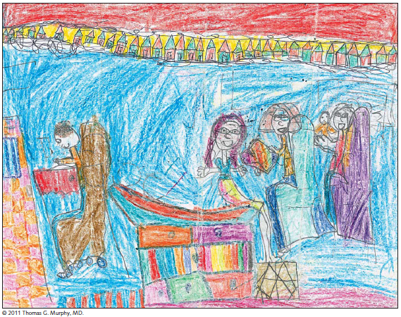 This image was drawn by a 7 year old and illustrates her experience in the doctor's office. Photo credit: JAMA article - JAMA. 2012;307(23):2497-2498. doi:10.1001/jama.2012.4946.