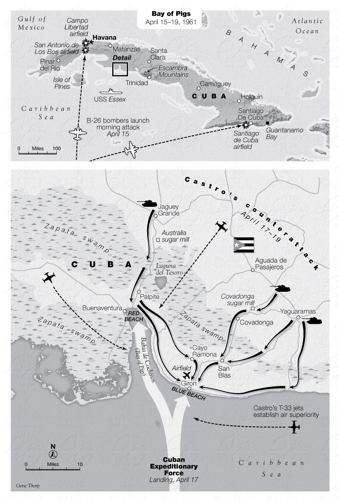 Map of the Bay of Pigs invasion