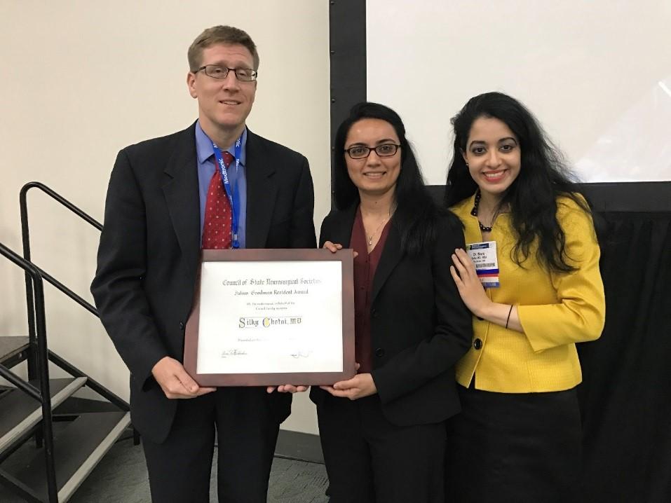 Dr. Gregory Murad, Dr. Silky Chotai (winner of the 2016 Julius Goodman Resident Award) and Dr. Maya Babu.