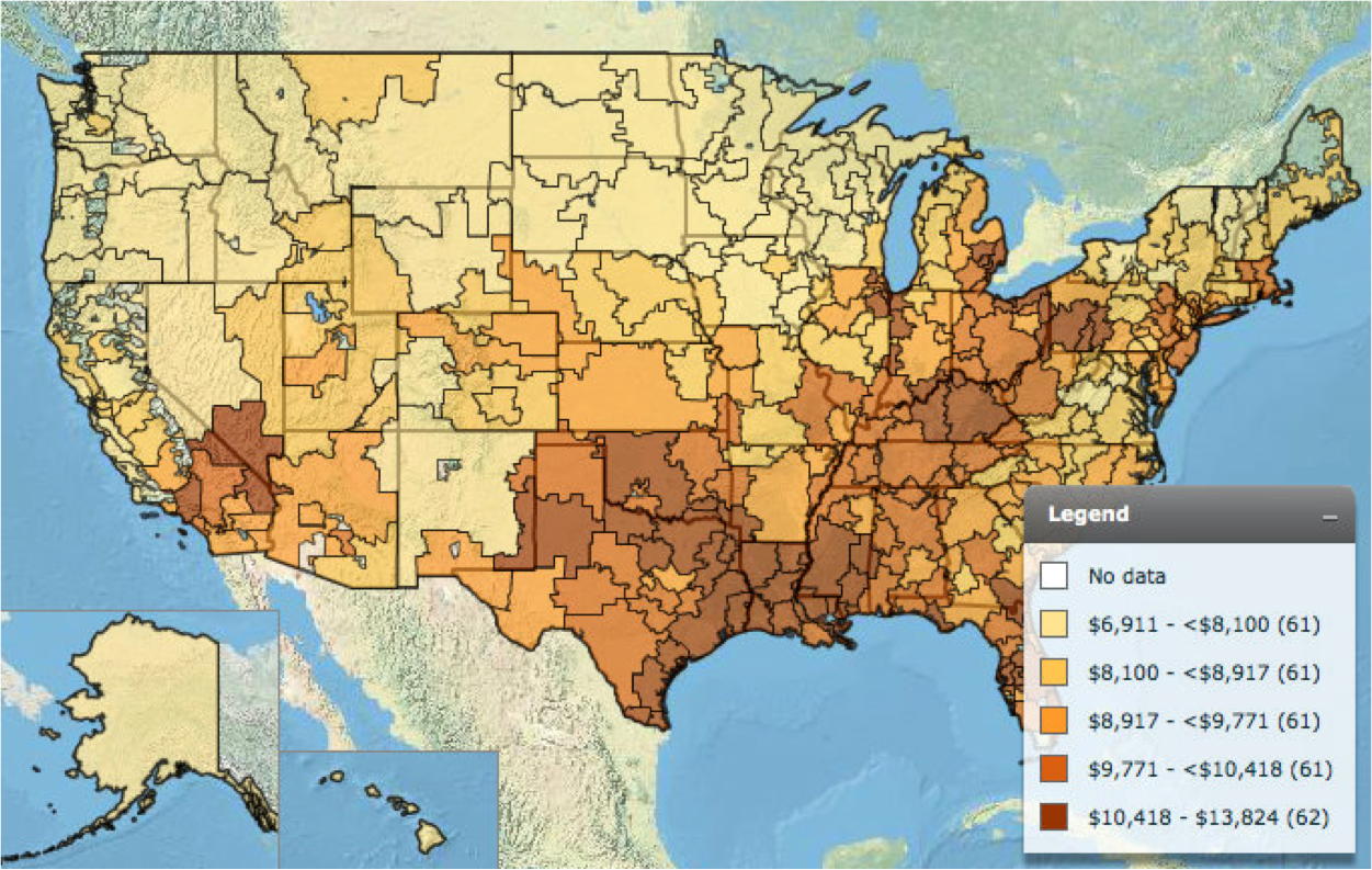 Figure 2. Hospital Referral Region based map of the US showcasing the total Medicare spending per enrollee in 2010.